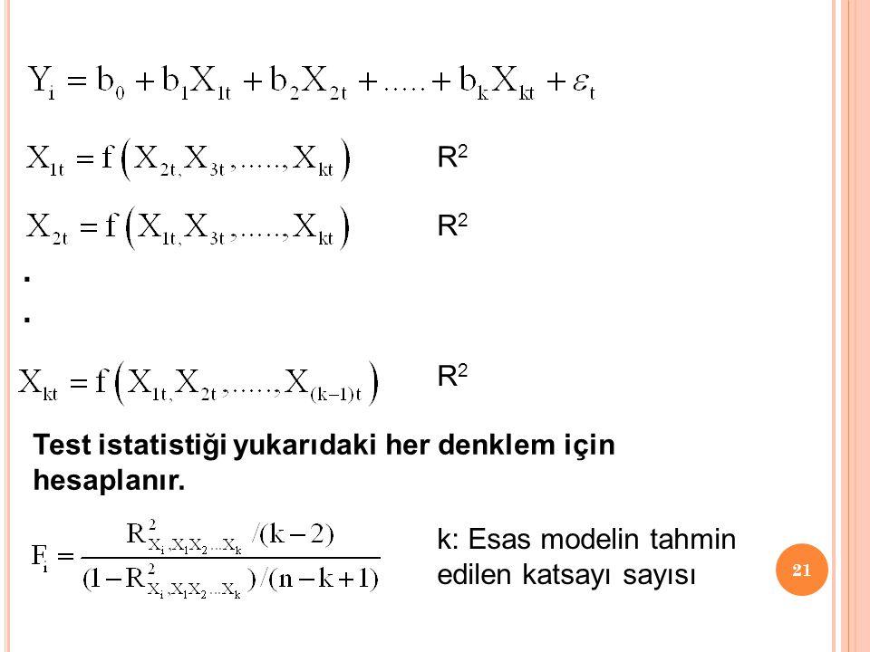. R2 R2 R2 Test istatistiği yukarıdaki her denklem için hesaplanır.