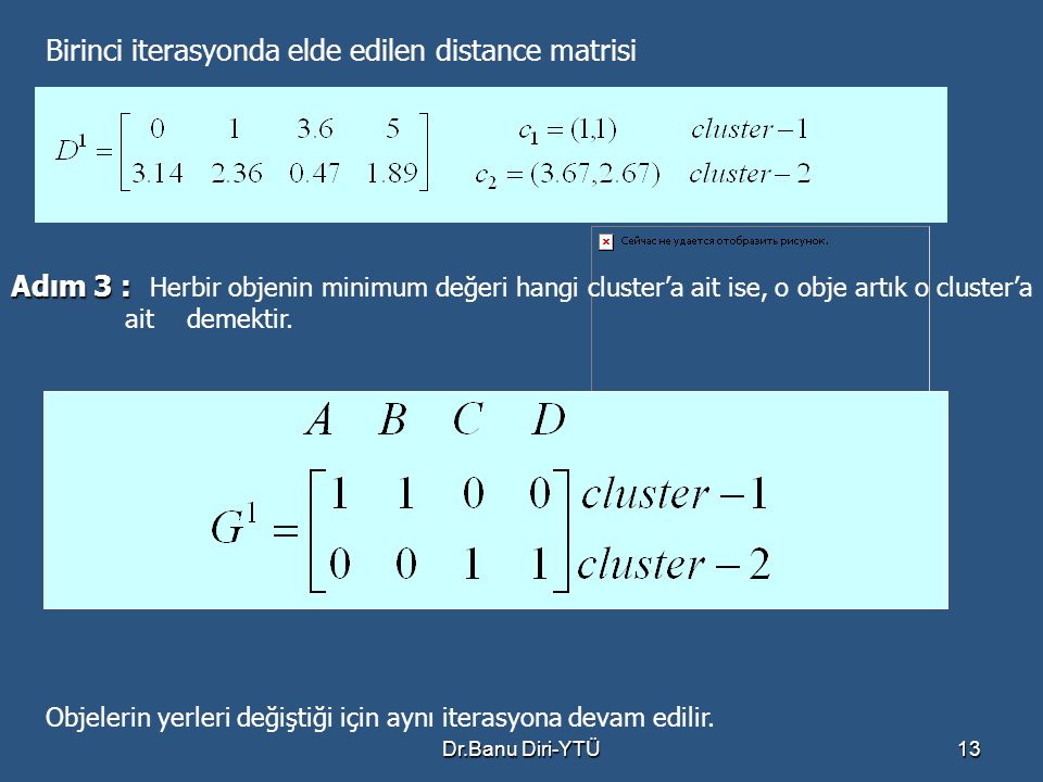 Birinci iterasyonda elde edilen distance matrisi