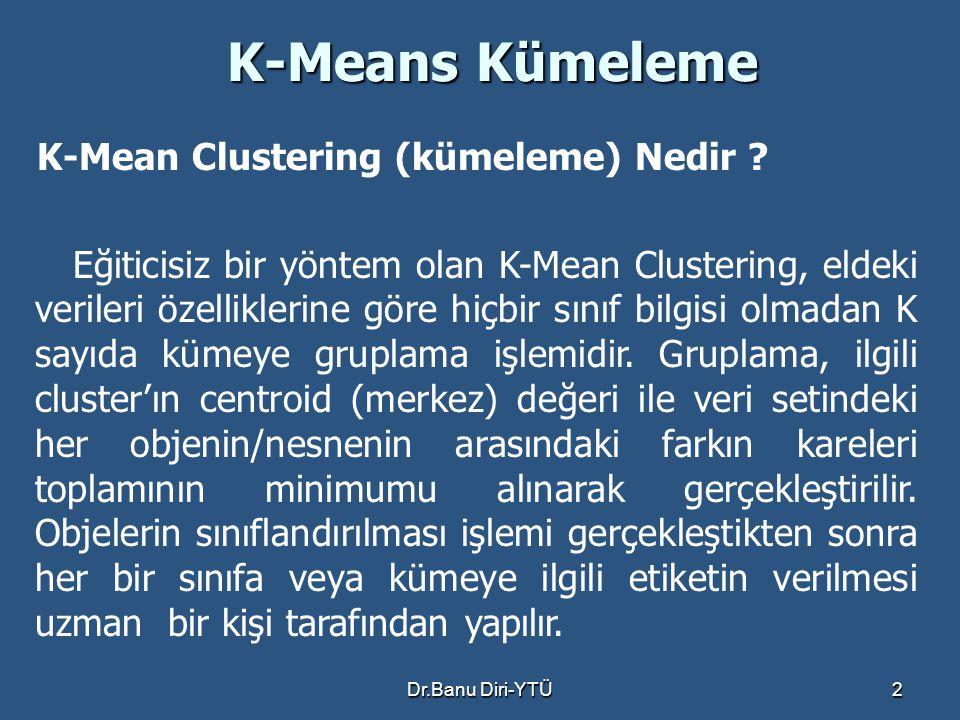 K-Means Kümeleme K-Mean Clustering (kümeleme) Nedir