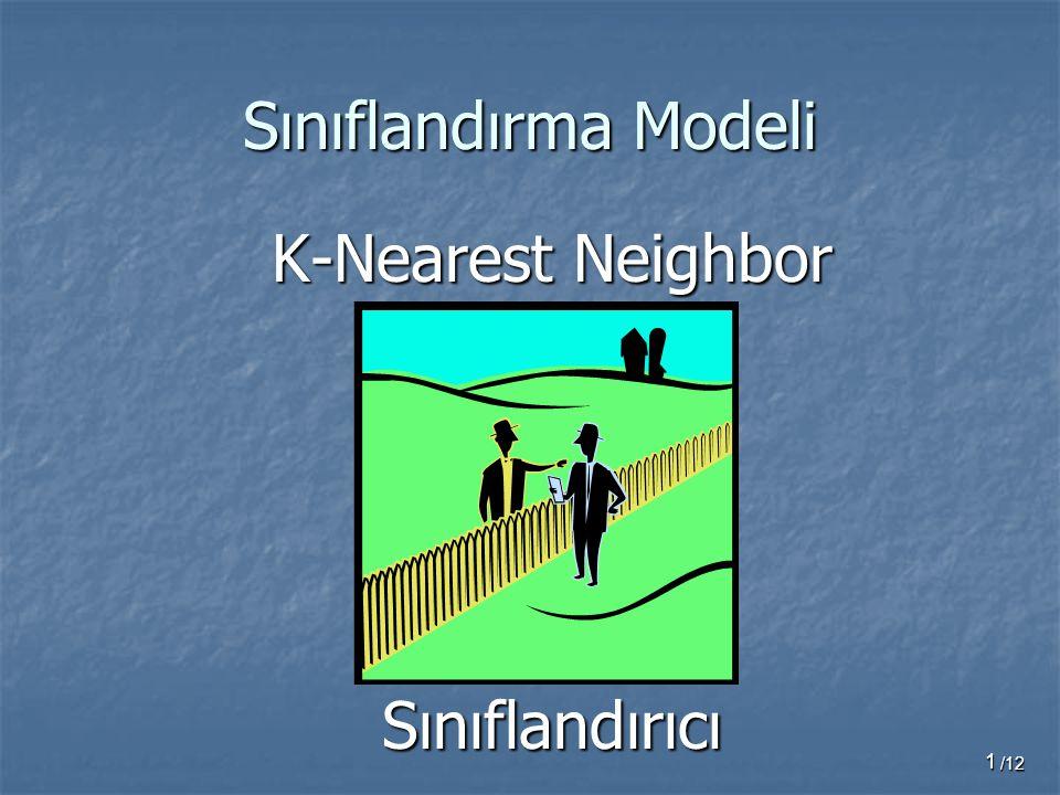 Sınıflandırma Modeli K-Nearest Neighbor Sınıflandırıcı /12