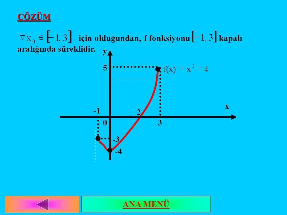 için olduğundan, f fonksiyonu kapalı aralığında süreklidir.