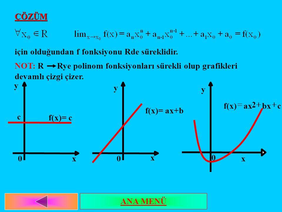 ÇÖZÜM için olduğundan f fonksiyonu Rde süreklidir. NOT: R Rye polinom fonksiyonları sürekli olup grafikleri devamlı çizgi çizer.