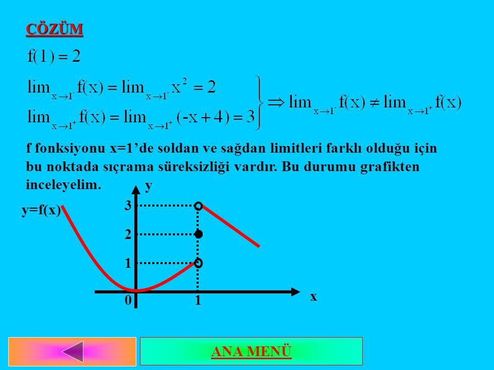 ÇÖZÜM f fonksiyonu x=1'de soldan ve sağdan limitleri farklı olduğu için bu noktada sıçrama süreksizliği vardır. Bu durumu grafikten inceleyelim.