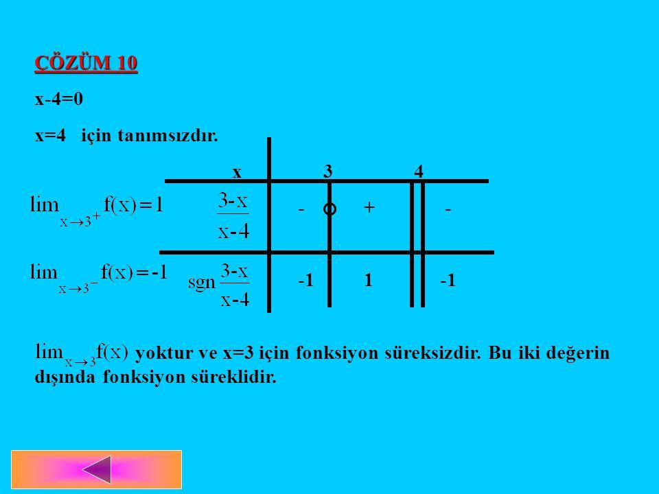 ÇÖZÜM 10 x-4=0. x=4 için tanımsızdır. x 3 4. - + - -1 1 -1.