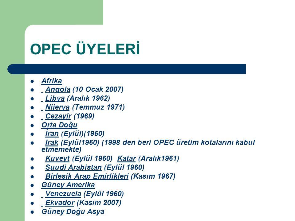 OPEC ÜYELERİ Afrika Angola (10 Ocak 2007) Libya (Aralık 1962)