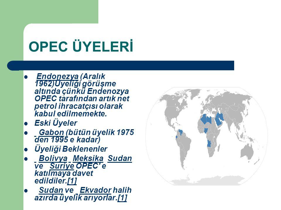 OPEC ÜYELERİ Endonezya (Aralık 1962)Üyeliği görüşme altında çünkü Endenozya OPEC tarafından artık net petrol ihracatçısı olarak kabul edilmemekte.