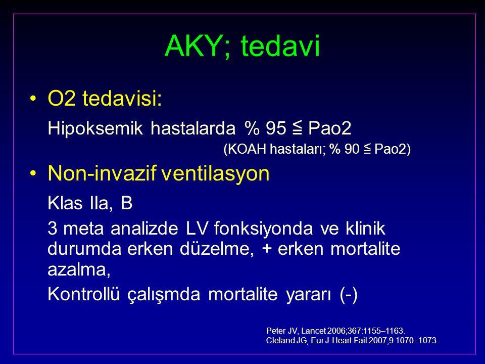 AKY; tedavi O2 tedavisi: Hipoksemik hastalarda % 95 ≦ Pao2