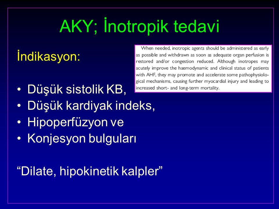 AKY; İnotropik tedavi İndikasyon: Düşük sistolik KB,