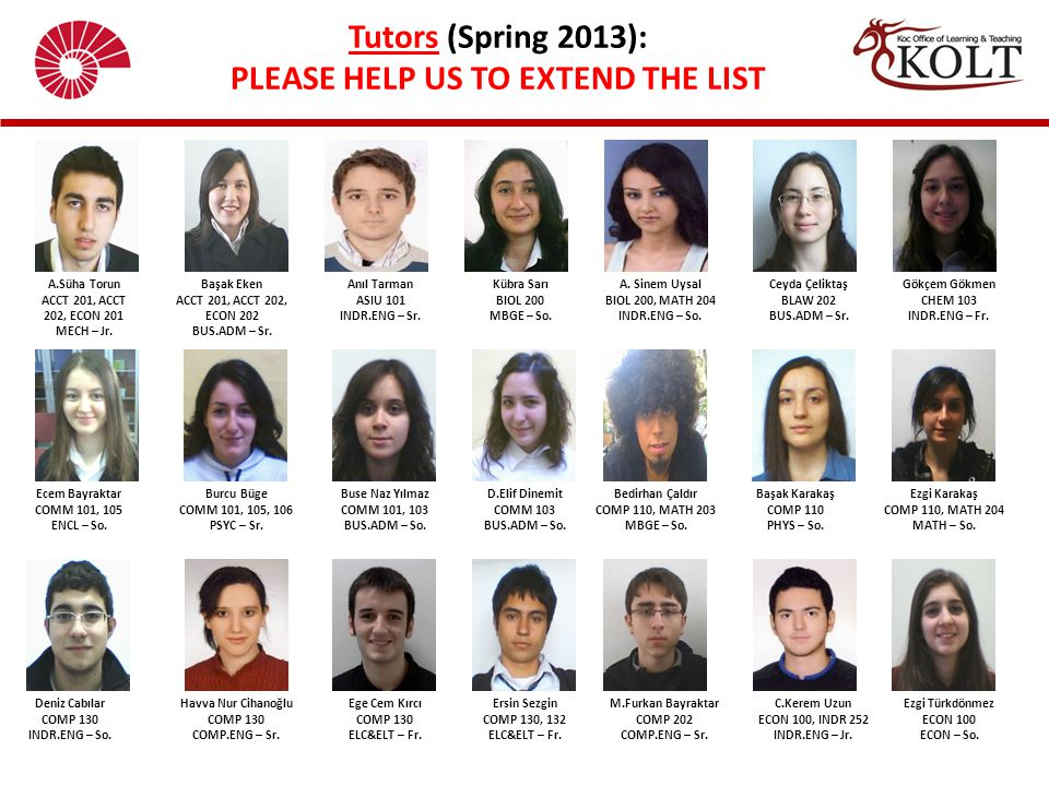 Tutors (Spring 2013): PLEASE HELP US TO EXTEND THE LIST