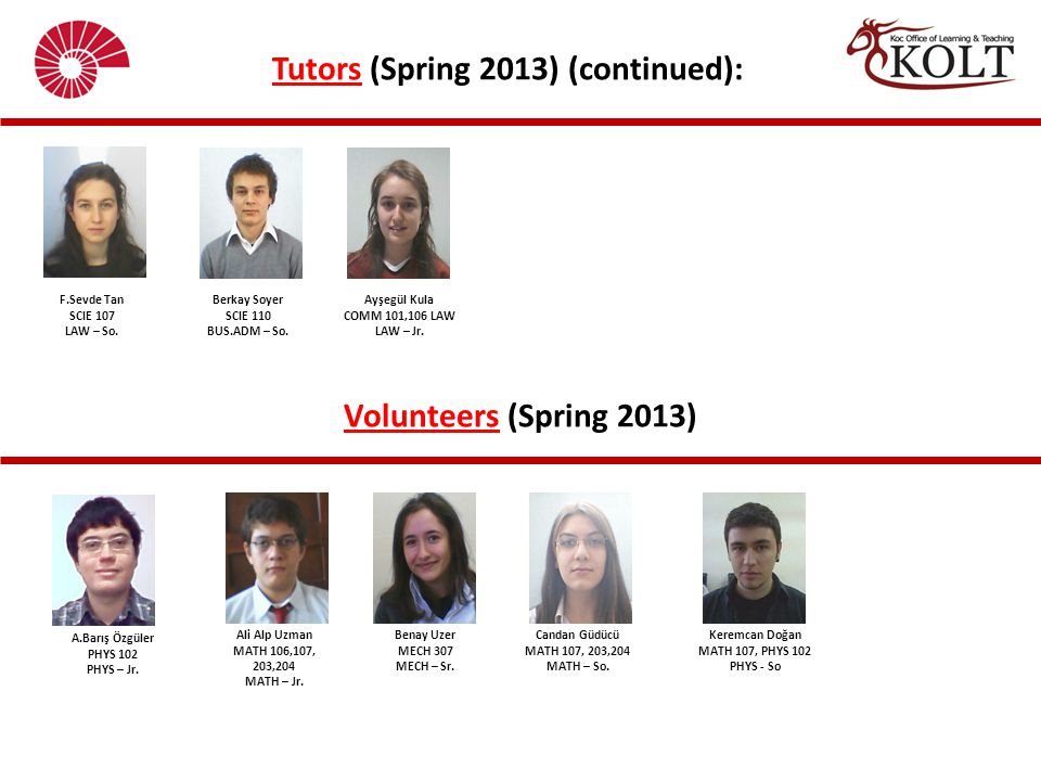 Tutors (Spring 2013) (continued):