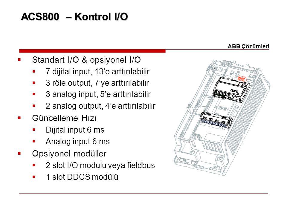 ACS800 – Kontrol I/O Standart I/O & opsiyonel I/O Güncelleme Hızı