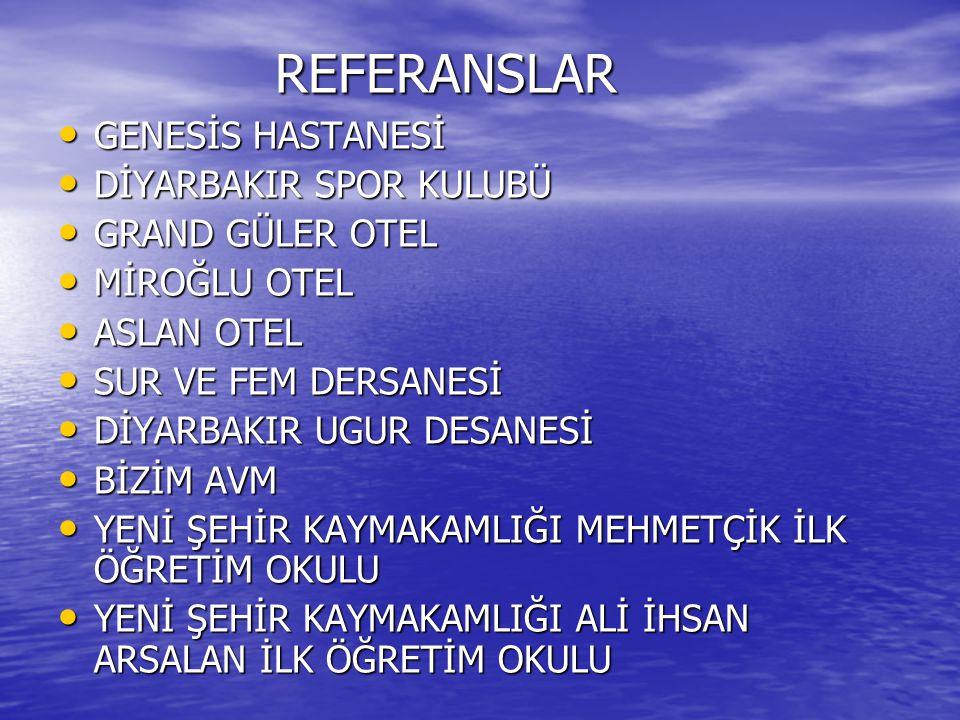 REFERANSLAR GENESİS HASTANESİ DİYARBAKIR SPOR KULUBÜ GRAND GÜLER OTEL