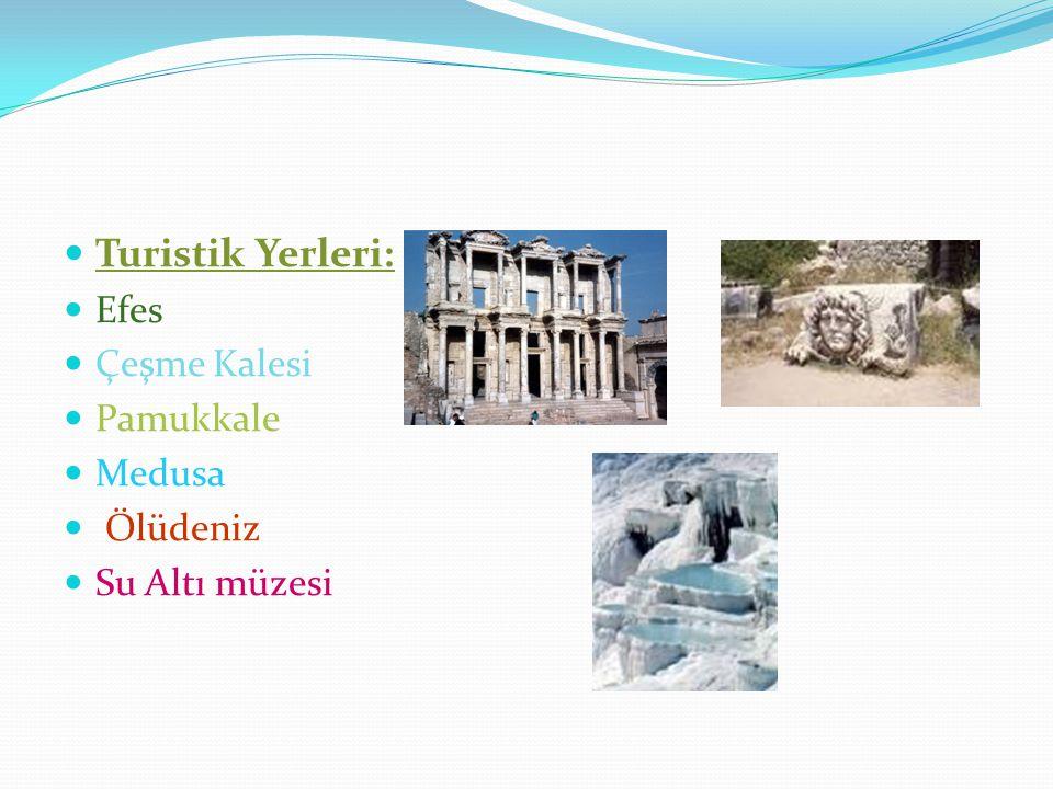 Turistik Yerleri: Efes Çeşme Kalesi Pamukkale Medusa Ölüdeniz