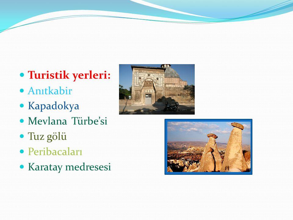 Turistik yerleri: Anıtkabir Kapadokya Mevlana Türbe'si Tuz gölü
