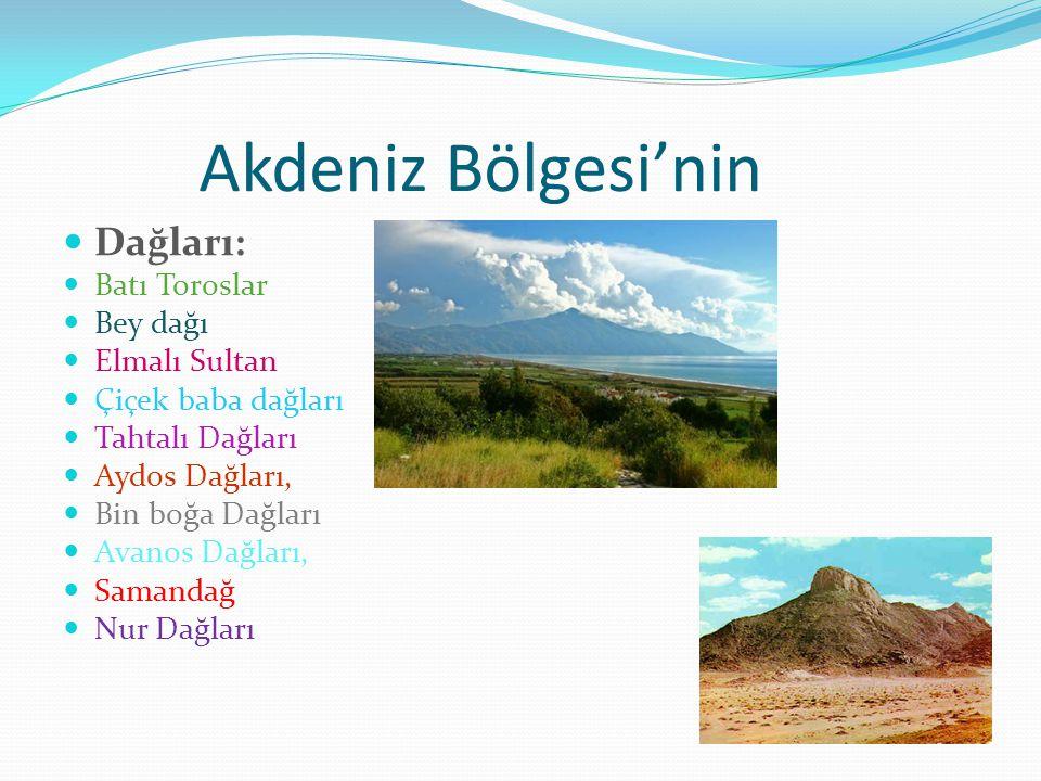 Akdeniz Bölgesi'nin Dağları: Batı Toroslar Bey dağı Elmalı Sultan