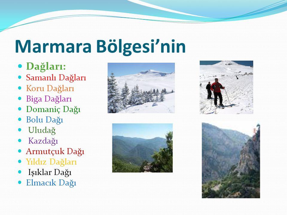 Marmara Bölgesi'nin Dağları: Samanlı Dağları Koru Dağları Biga Dağları