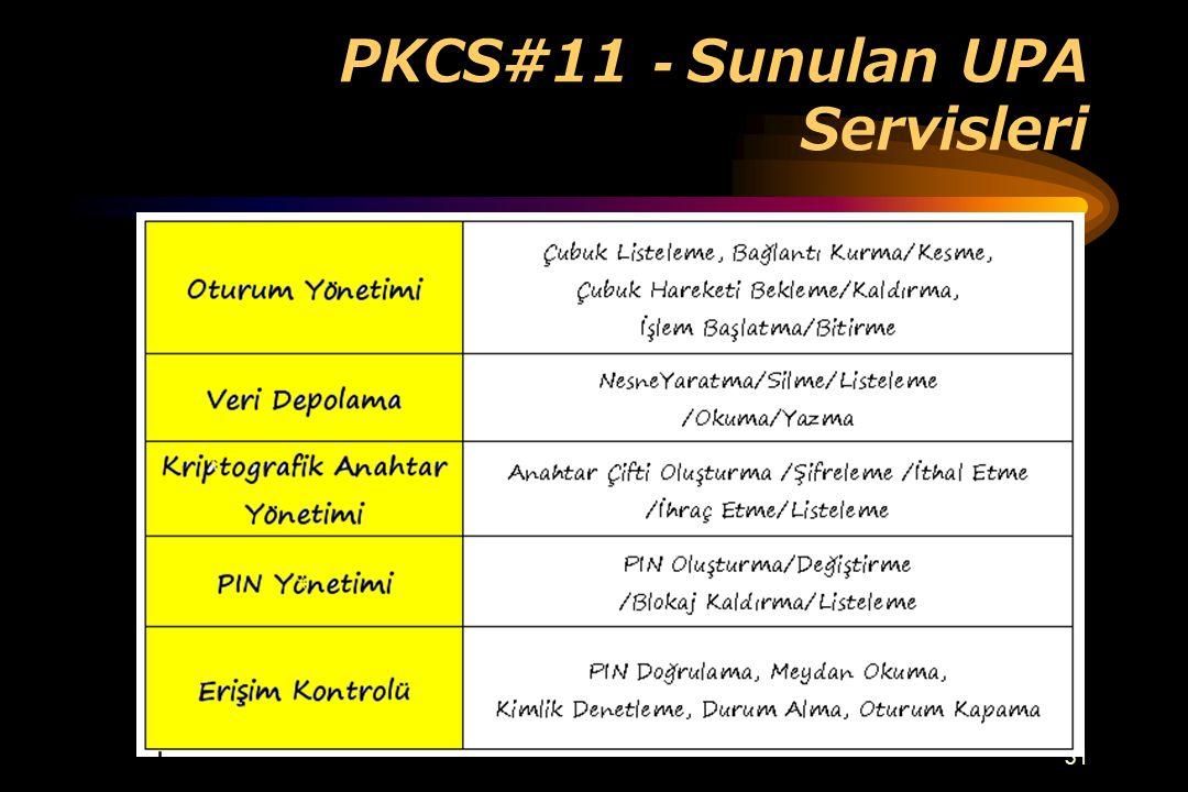 PKCS#11 - Sunulan UPA Servisleri