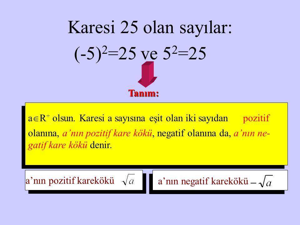 Karesi 25 olan sayılar: (-5)2=25 ve 52=25 Tanım: