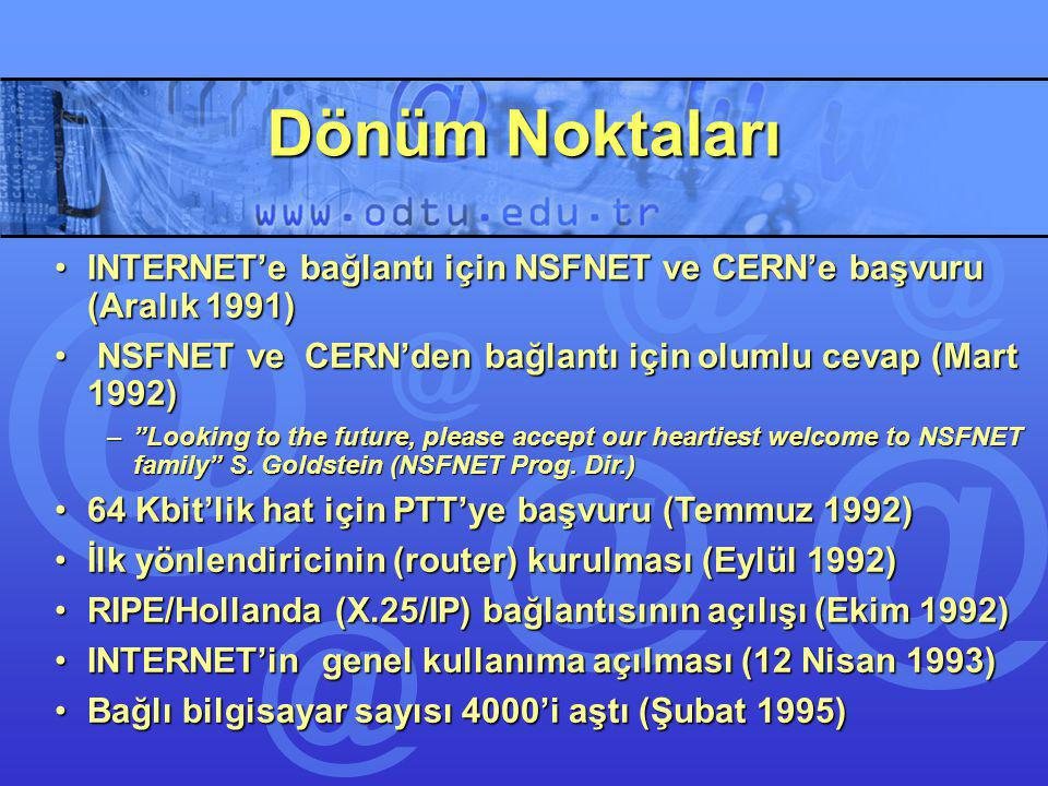 Dönüm Noktaları INTERNET'e bağlantı için NSFNET ve CERN'e başvuru (Aralık 1991) NSFNET ve CERN'den bağlantı için olumlu cevap (Mart 1992)