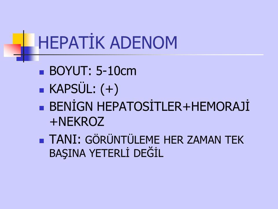 HEPATİK ADENOM BOYUT: 5-10cm KAPSÜL: (+)