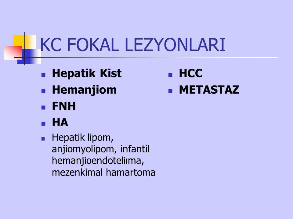 KC FOKAL LEZYONLARI Hepatik Kist Hemanjiom FNH HA HCC METASTAZ