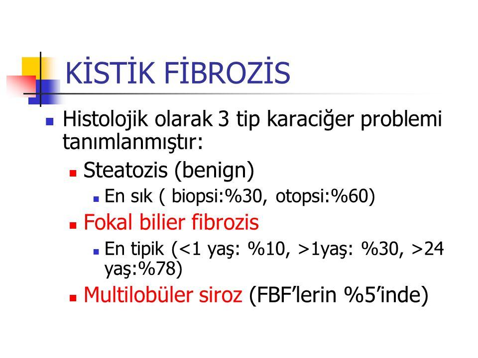KİSTİK FİBROZİS Histolojik olarak 3 tip karaciğer problemi tanımlanmıştır: Steatozis (benign) En sık ( biopsi:%30, otopsi:%60)