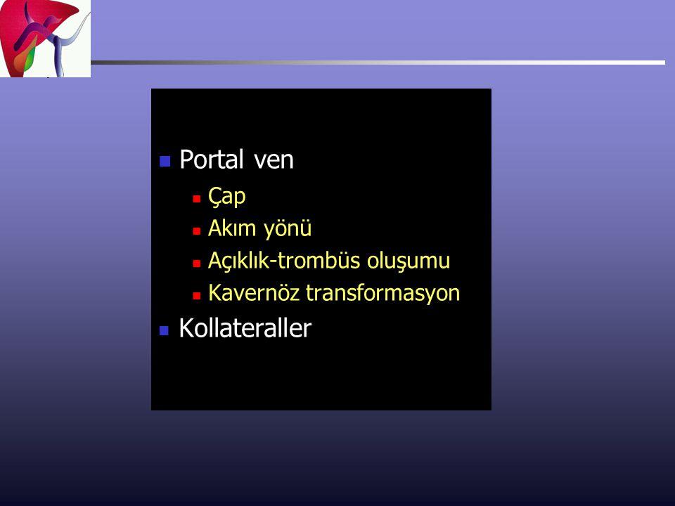 Portal ven Kollateraller Çap Akım yönü Açıklık-trombüs oluşumu