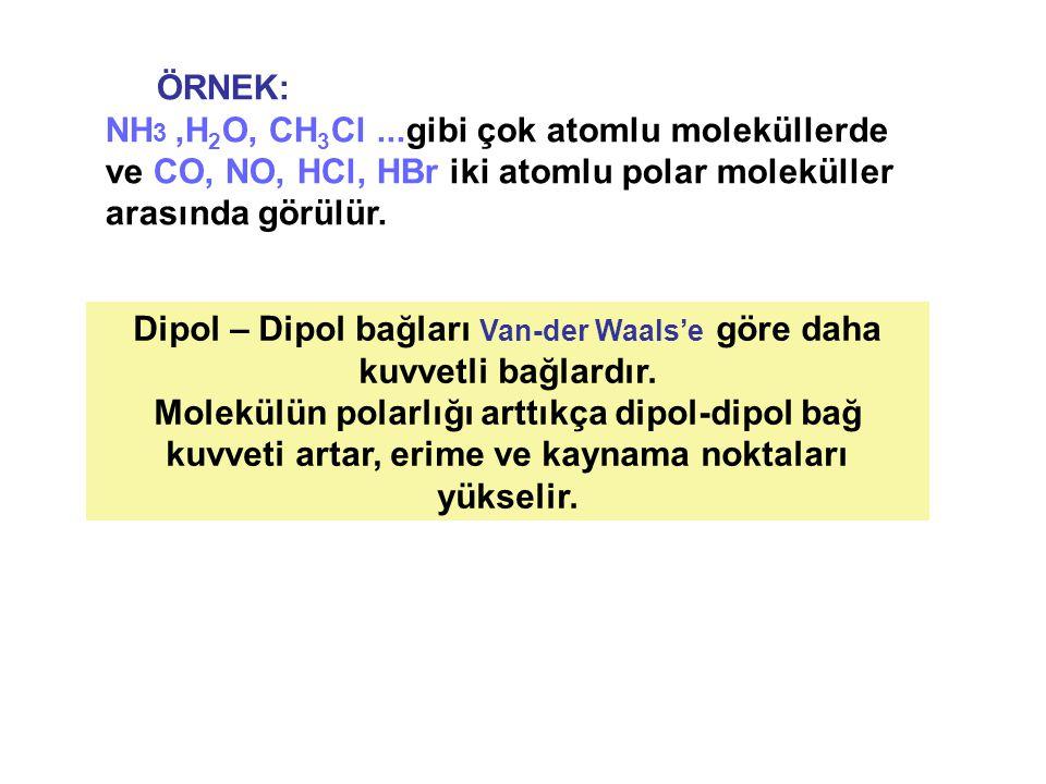Dipol – Dipol bağları Van-der Waals'e göre daha kuvvetli bağlardır.