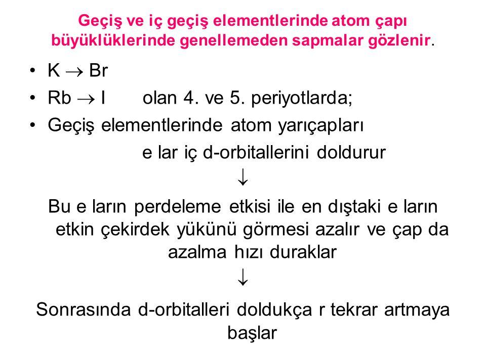 Rb  I olan 4. ve 5. periyotlarda;