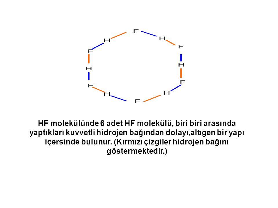 HF molekülünde 6 adet HF molekülü, biri biri arasında yaptıkları kuvvetli hidrojen bağından dolayı,altıgen bir yapı içersinde bulunur.