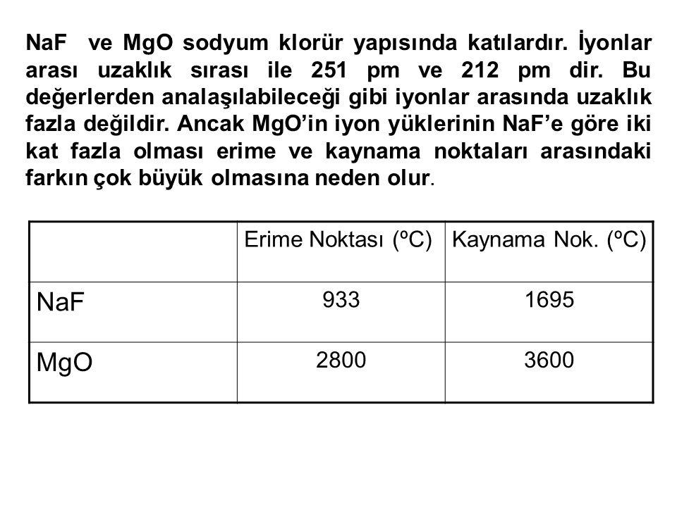 NaF ve MgO sodyum klorür yapısında katılardır