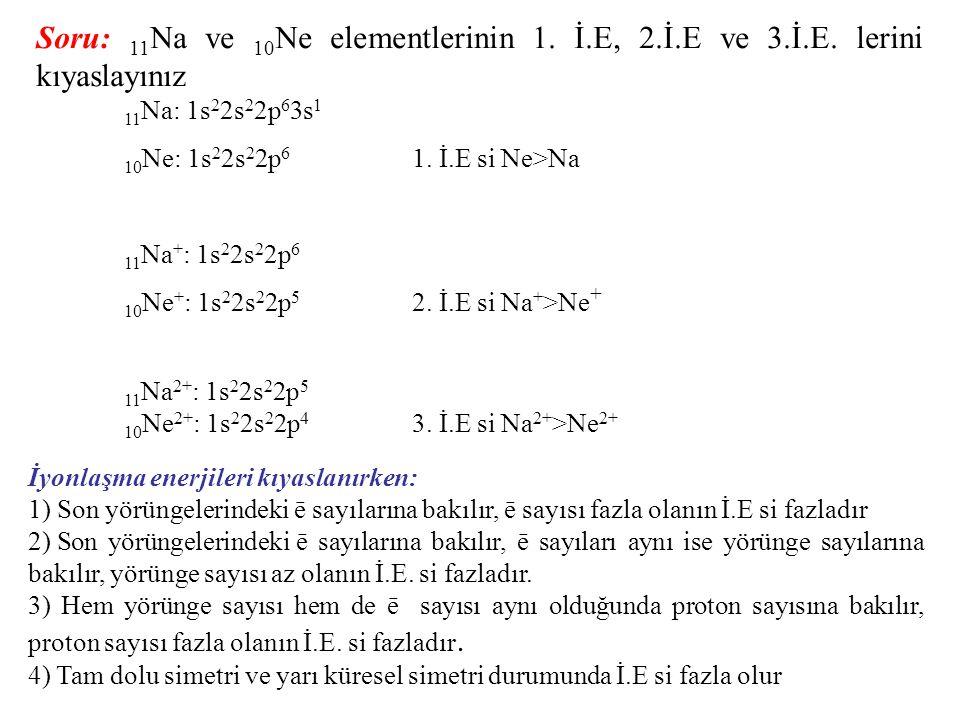 Soru: 11Na ve 10Ne elementlerinin 1. İ. E, 2. İ. E ve 3. İ. E