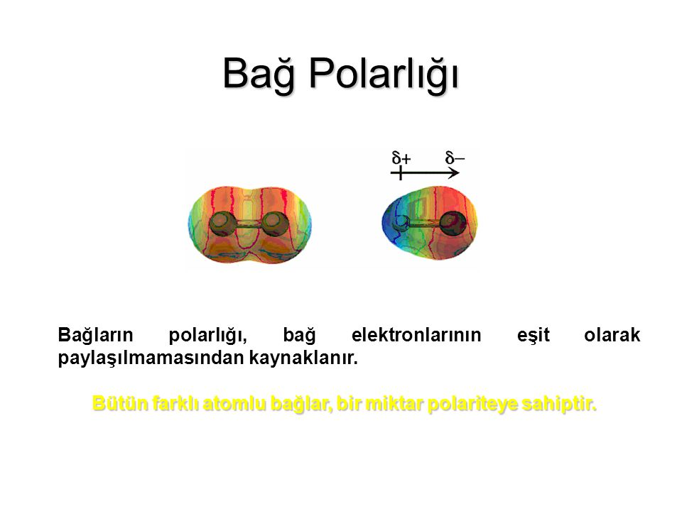 Bağ Polarlığı Bağların polarlığı, bağ elektronlarının eşit olarak paylaşılmamasından kaynaklanır.