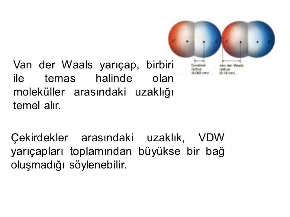 Van der Waals yarıçap, birbiri ile temas halinde olan moleküller arasındaki uzaklığı temel alır.