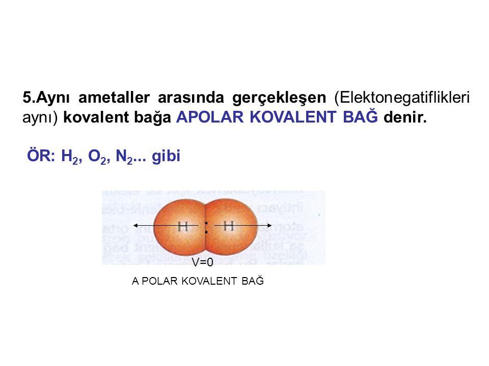 5.Aynı ametaller arasında gerçekleşen (Elektonegatiflikleri aynı) kovalent bağa APOLAR KOVALENT BAĞ denir.