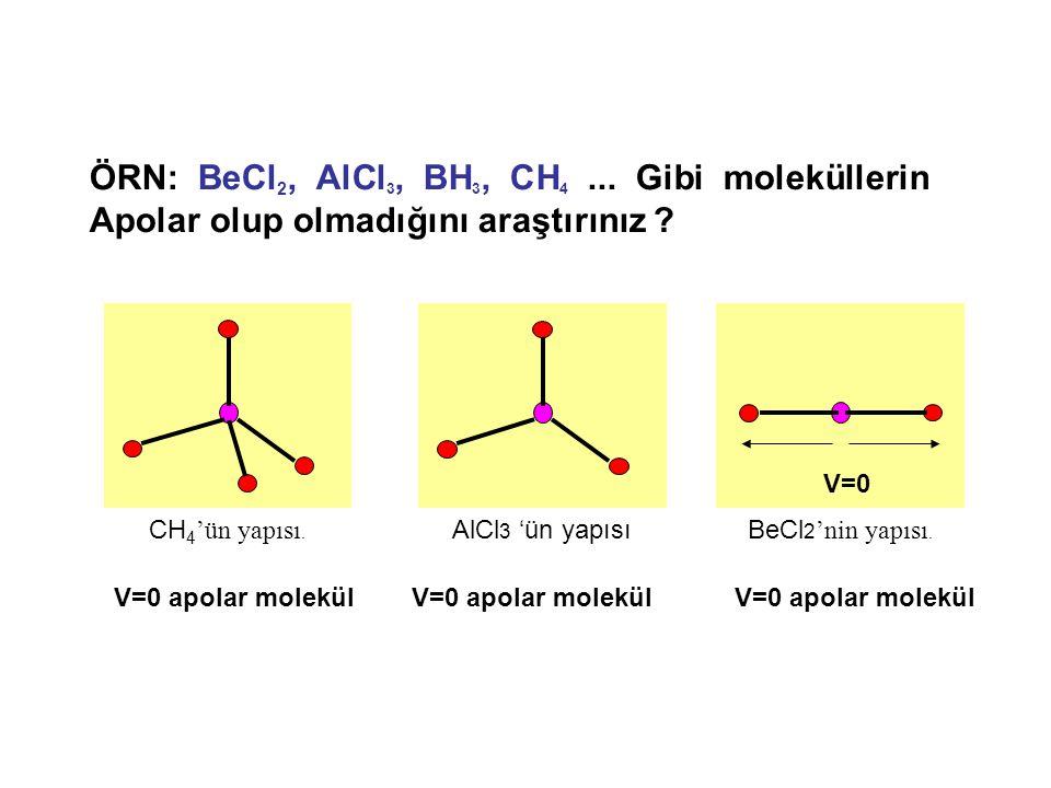 ÖRN: BeCl2, AlCl3, BH3, CH4 ... Gibi moleküllerin Apolar olup olmadığını araştırınız