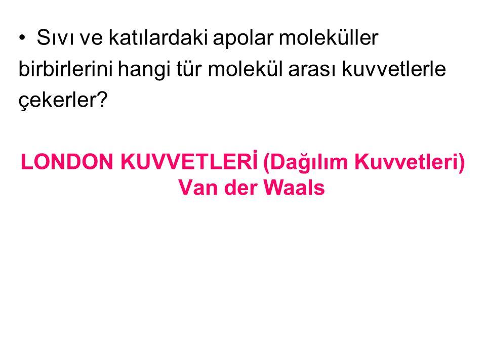 LONDON KUVVETLERİ (Dağılım Kuvvetleri) Van der Waals