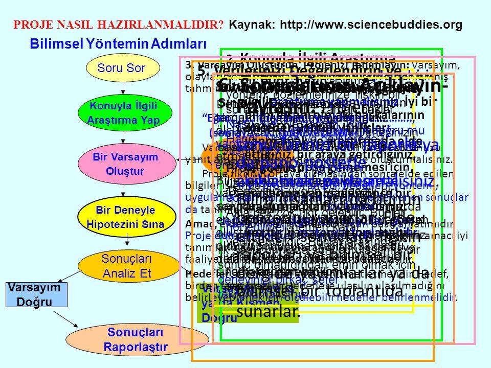 PROJE NASIL HAZIRLANMALIDIR Kaynak: http://www.sciencebuddies.org