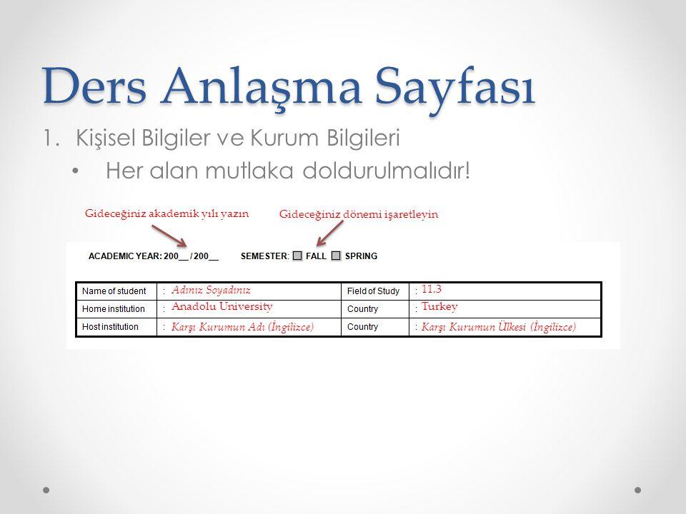 Ders Anlaşma Sayfası Kişisel Bilgiler ve Kurum Bilgileri