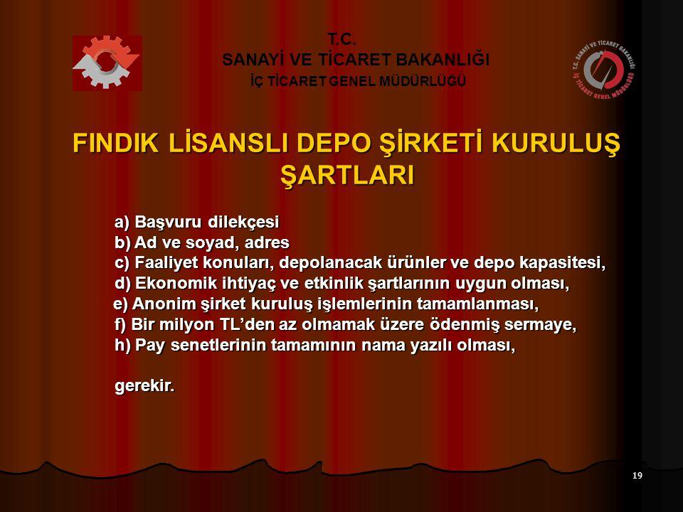 FINDIK LİSANSLI DEPO ŞİRKETİ KURULUŞ ŞARTLARI
