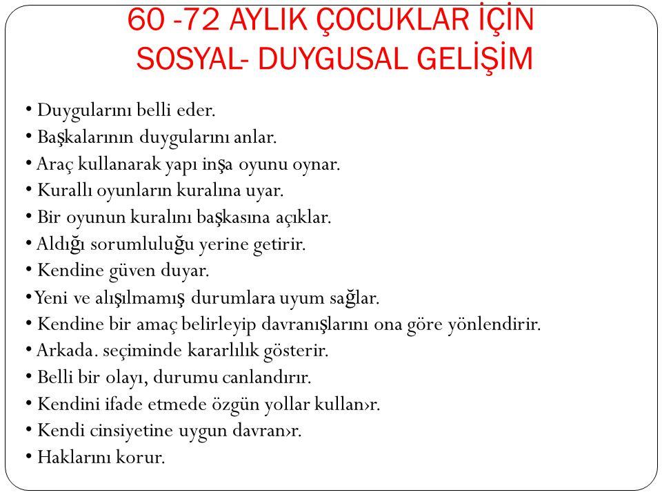 60 -72 AYLIK ÇOCUKLAR İÇİN SOSYAL- DUYGUSAL GELİŞİM