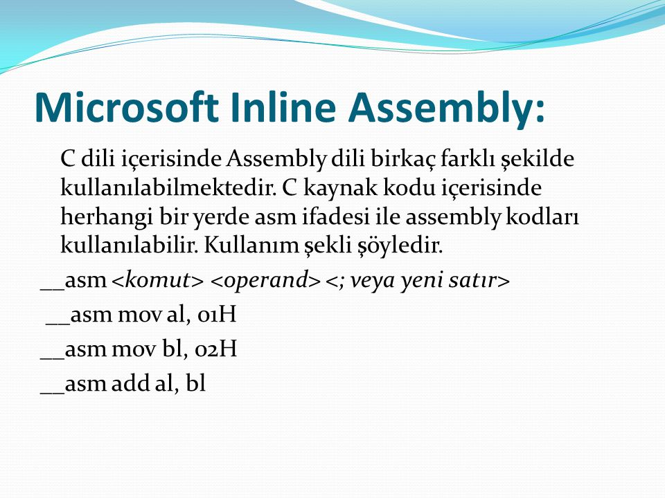 Microsoft Inline Assembly: