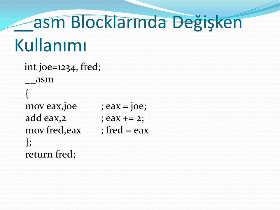 __asm Blocklarında Değişken Kullanımı