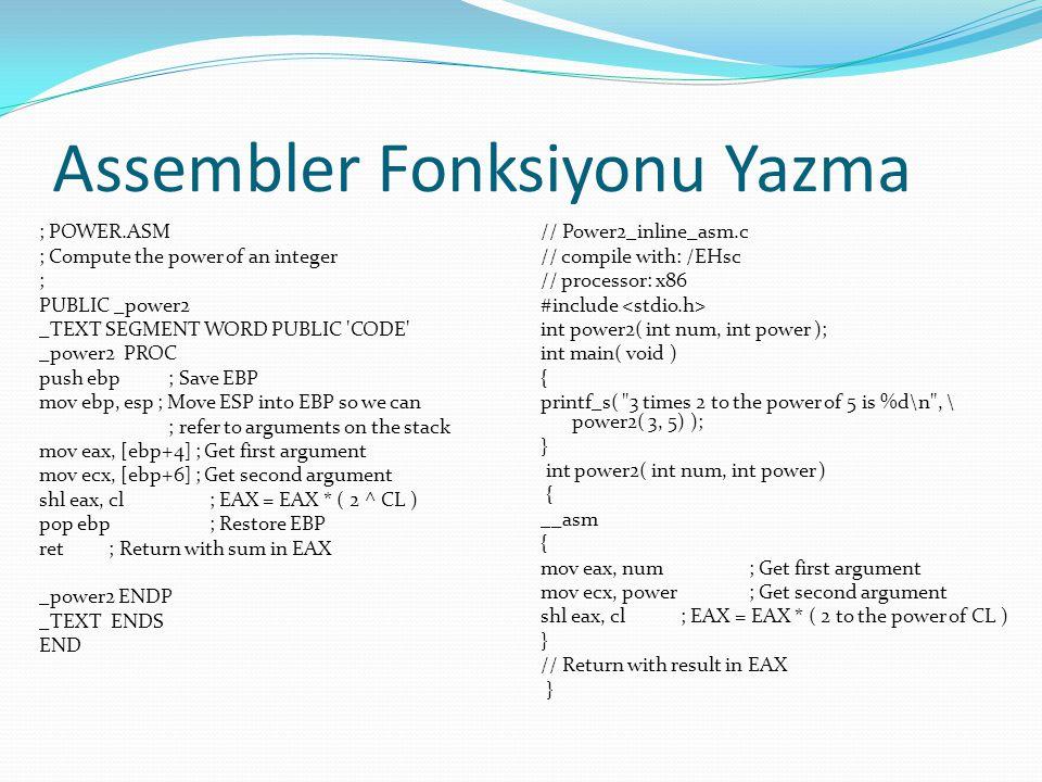 Assembler Fonksiyonu Yazma