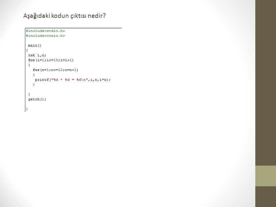 Aşağıdaki kodun çıktısı nedir