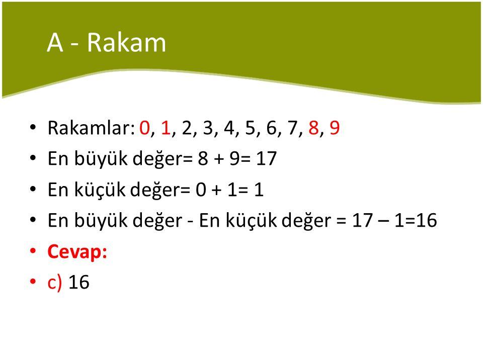 A - Rakam Rakamlar: 0, 1, 2, 3, 4, 5, 6, 7, 8, 9. En büyük değer= 8 + 9= 17. En küçük değer= 0 + 1= 1.