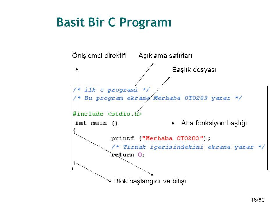 Basit Bir C Programı Önişlemci direktifi Açıklama satırları
