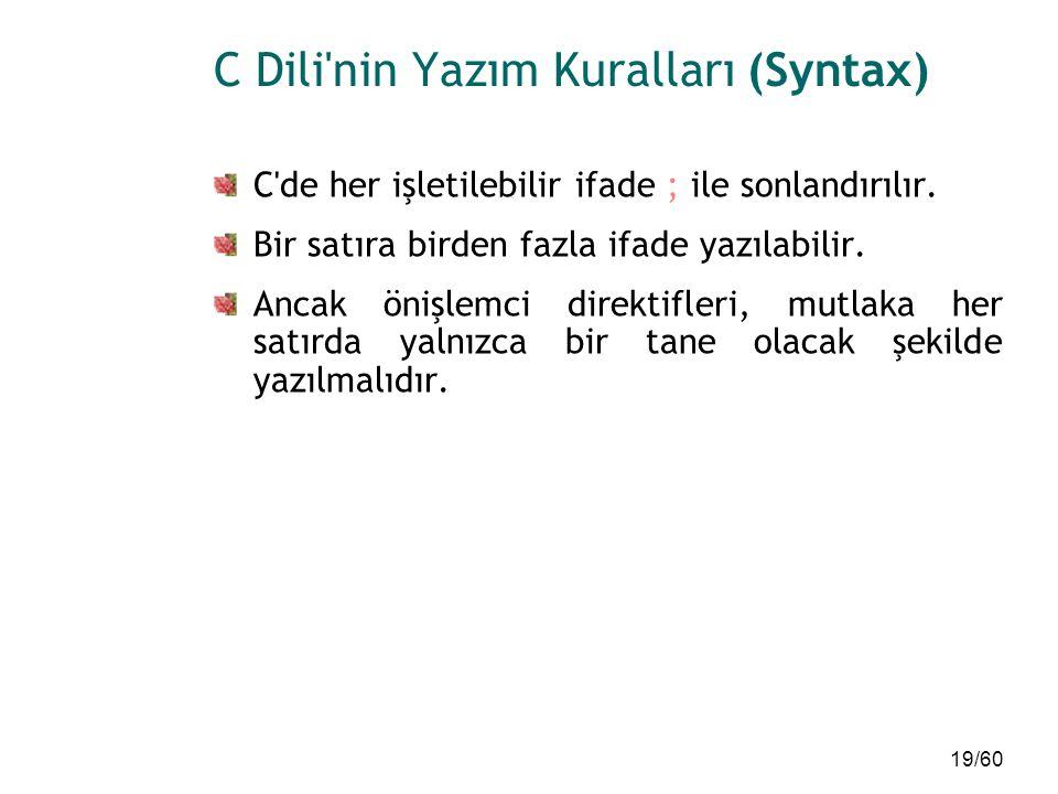 C Dili nin Yazım Kuralları (Syntax)