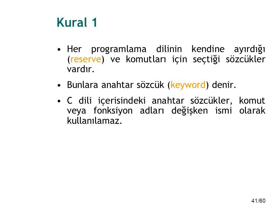 Kural 1 Her programlama dilinin kendine ayırdığı (reserve) ve komutları için seçtiği sözcükler vardır.
