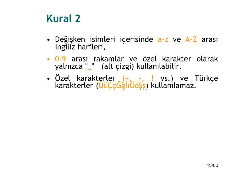 Kural 2 Değişken isimleri içerisinde a-z ve A-Z arası İngiliz harfleri,